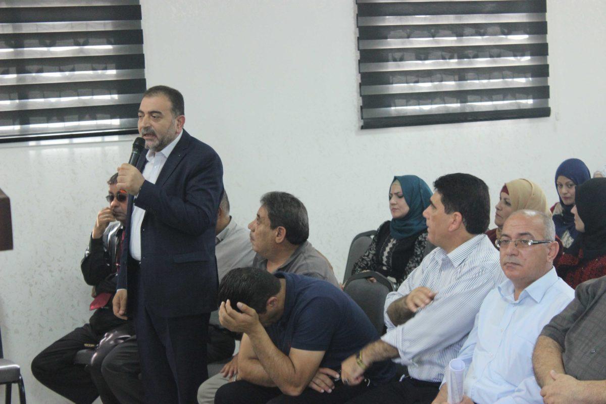 المشاركة في الاعتصام الخاص بمستشفى الوكالة الذي عقد في مقر اقليم حركة فتح