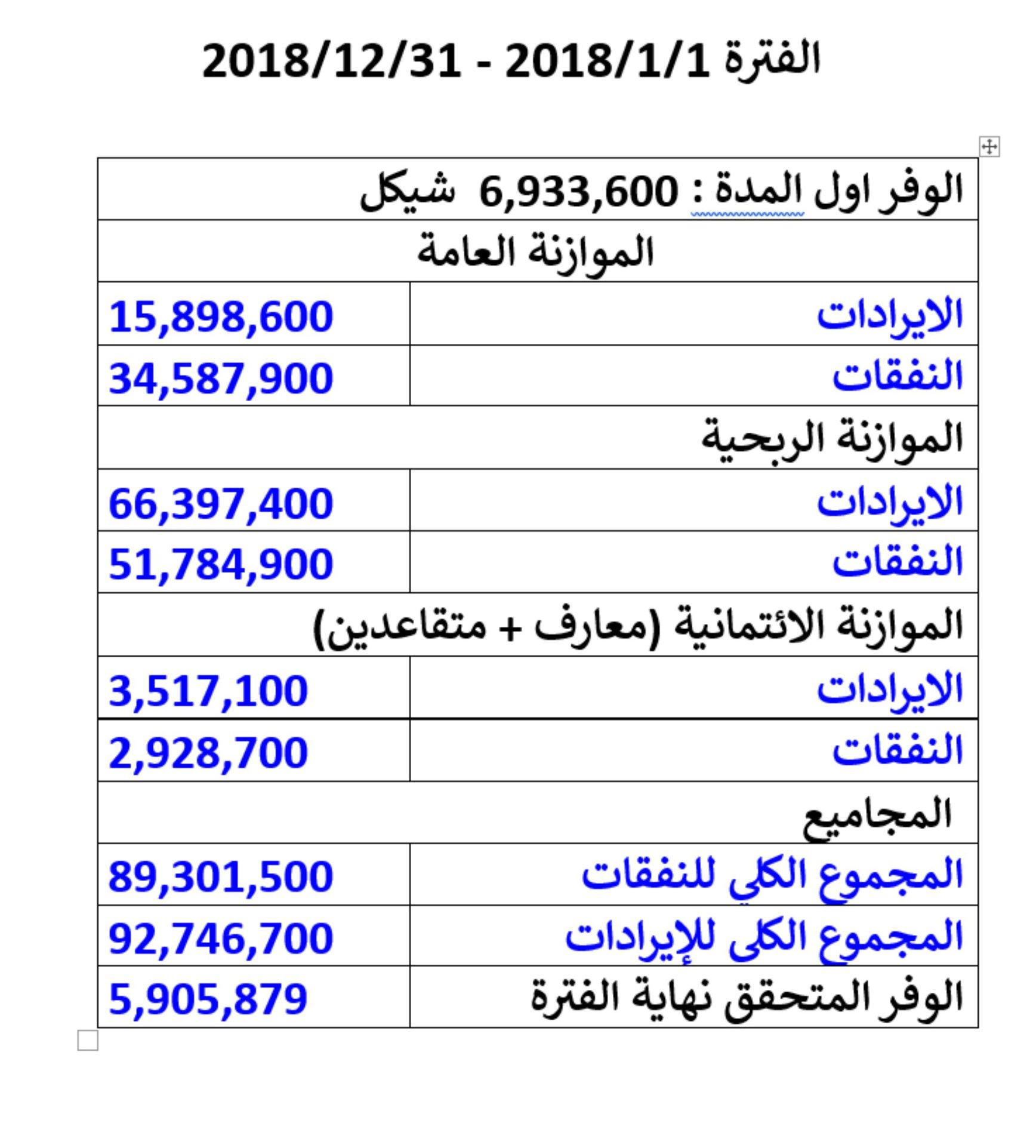 تقرير مالي موجز صادر عن بلدية قلقيلية