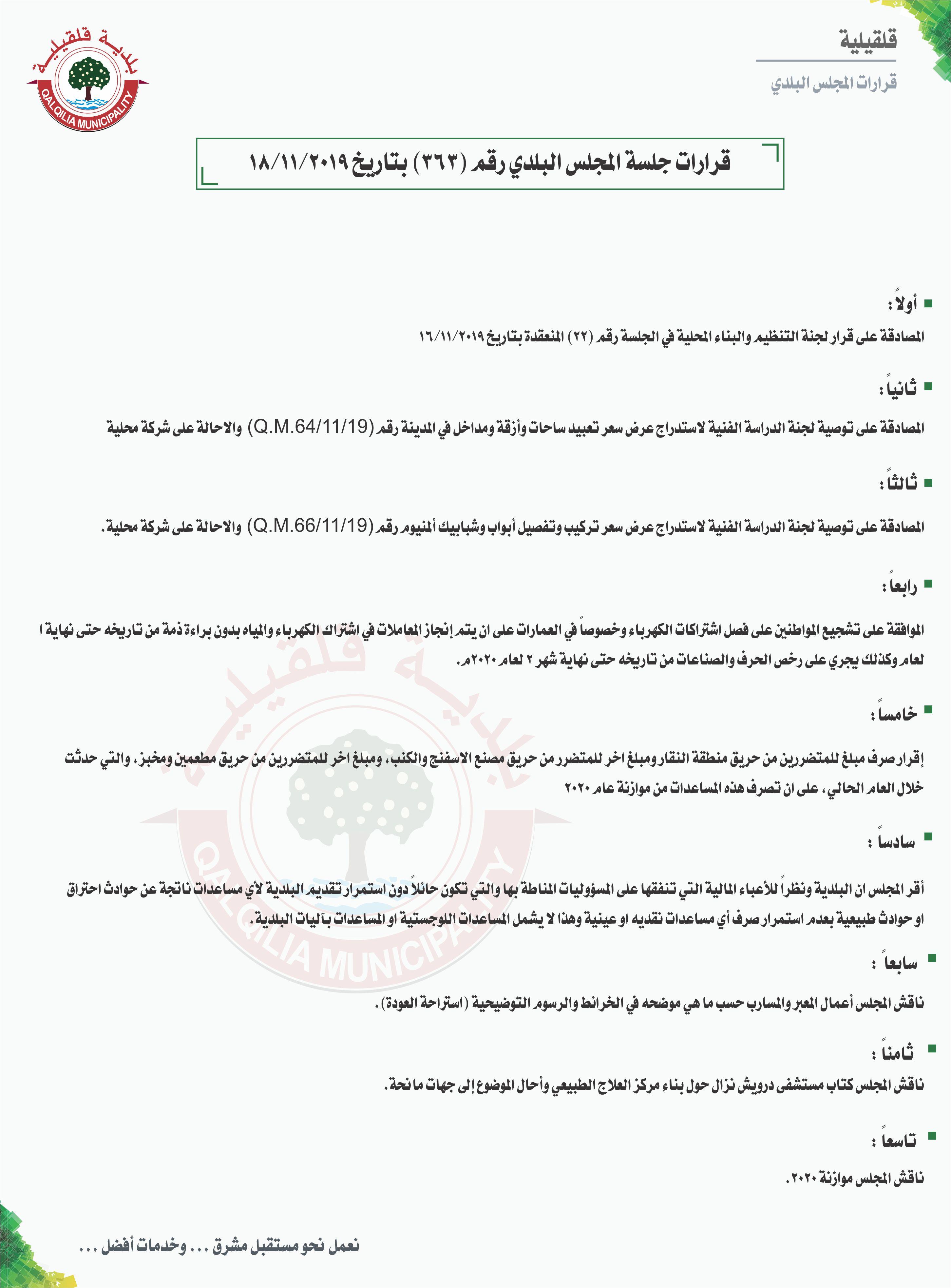 قرارات جلسة المجلس البلدي رقم (363) بتاريخ 18/11/2019