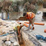 استمرار اعمال مشروع تأهيل شبكة الصرف الصحي في قلقيل