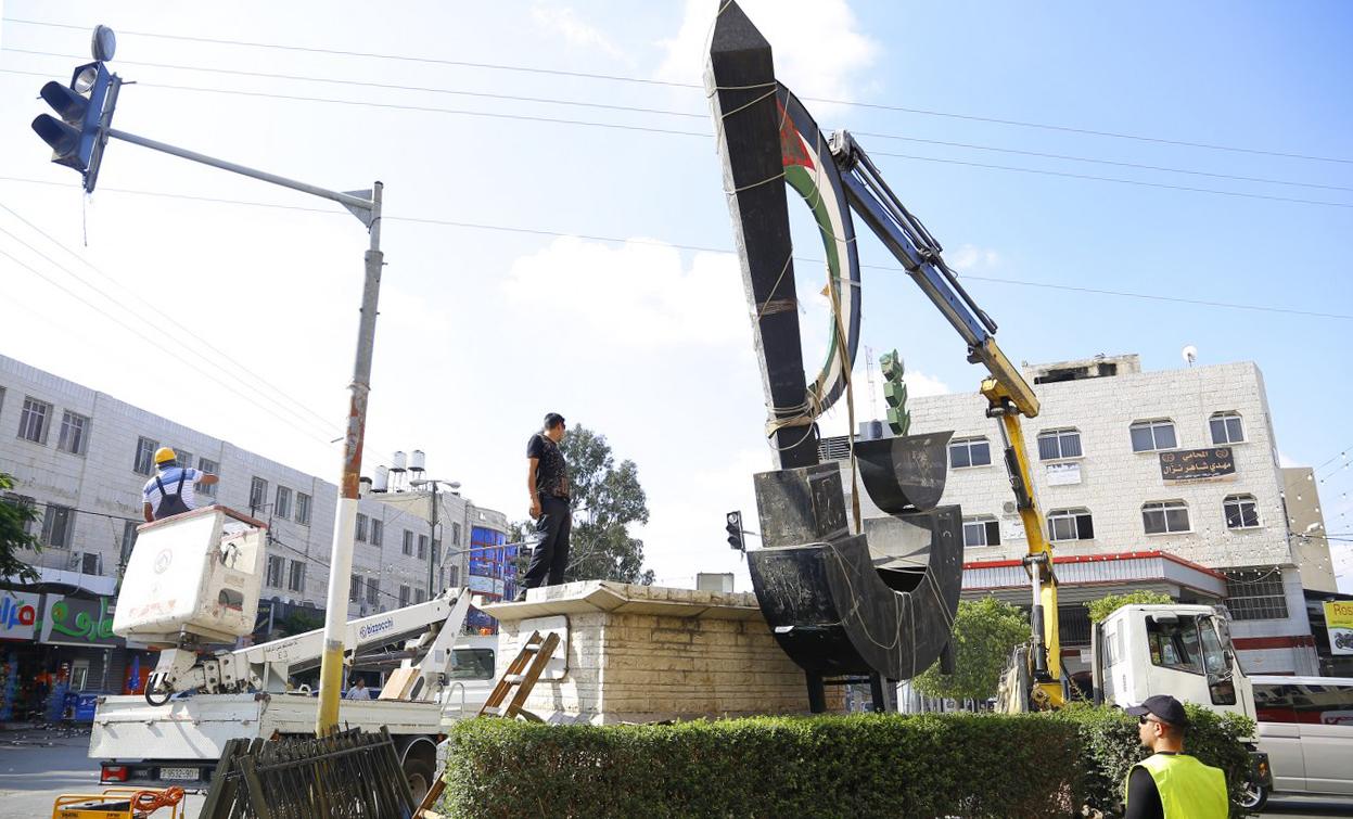 البلدية تباشر باعمال انجاز الدوار -منطقة ميدان الشهيد ابوعلي اياد