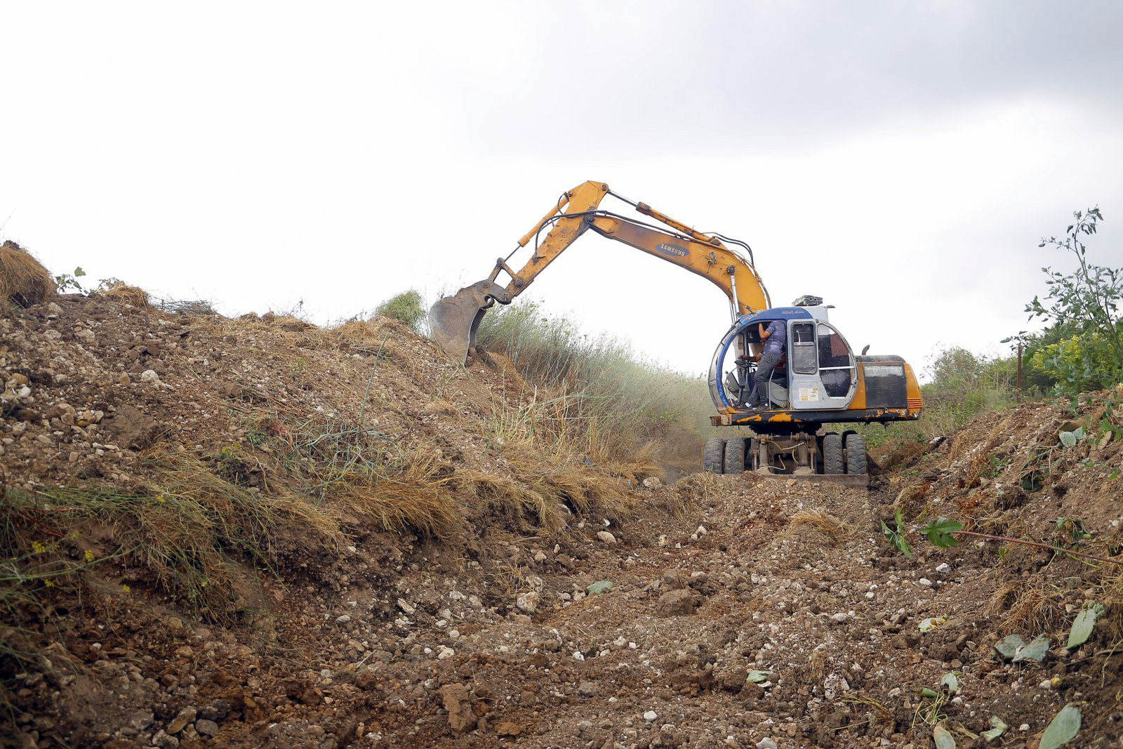 بلدية قلقيلية تقوم  بأعمال تنظيف الوادي الغربي المحاذي لجدار الفصل العنصري